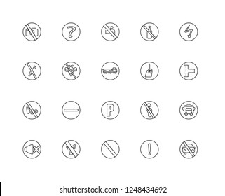 Set Of 20 linear traffic signs icons such as No parking, Warning, Prohibition, wifi, sound, High voltage, Laser, Parking, drugs, insects, water, editable stroke vector icon pack