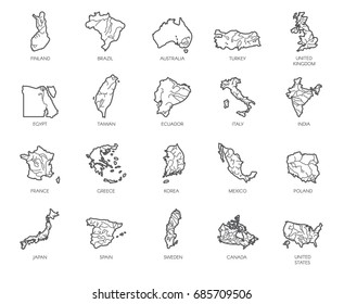 Set of 20 maps in linear style of different countries - England, America, Asia, Europe. Outline icons for atlas, cartography, education projects, article, travel sites and other design needs. Vector