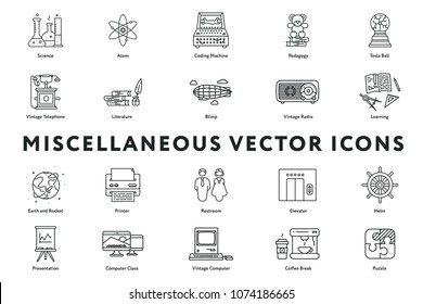 Set of 20 Miscellaneous Minimal Color Flat Line Icons. Science, Atom, Pedagogy, Vintage Telephone and Radio, Literature, Blimp, Learning, Printer, Restroom, Elevator, Helm, Presentation.