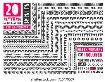 Set of 20 pattern brushes for illustrator. Borders collection in linocut style includes clean versions of brushes without grunge effect. EPS10 vector illustration.