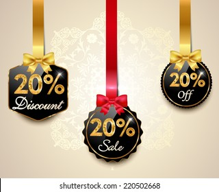 Set of 20% sale and discount golden labels with red bows and ribbons Style Sale Tags Design, 20 off - vector eps10