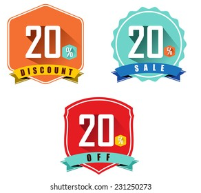 Set of 20% sale and discount, long shadow flat color design, 20 off - vector eps10