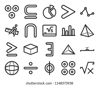 Set Of 20 simple editable icons such as Is a subset of, Proportion, Line graphic, Divide, Sphere, 180 degrees angle, The intersection web UI icon pack, pixel perfect