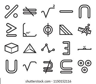 Set Of 20 simple editable icons such as Circle with vertical line, Is a subset of, not subset, Square root, Triangular prism, web UI icon pack, pixel perfect