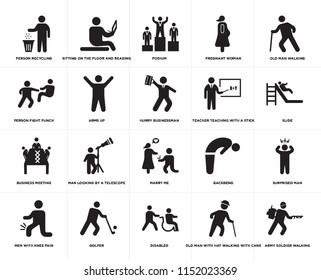 Set Of 20 simple editable icons such as Slide, Disabled, Golfer, Person fight punch, Hurry businessman, web UI icon pack, pixel perfect