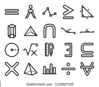 Set Of 20 simple editable icons such as The intersection of, Divide, Bars graphic, Triangular pyramid volumetrical shape, Obtuse angle of 135 degrees, web UI icon pack, pixel perfect
