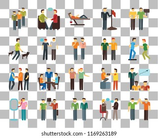 Set Of 20 Transparency Icons Such As Volunteer Help Demonstration Target Conversation