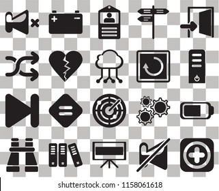 Set Of 20 transparent icons such as Add, Muted, Television, Archive, Binoculars, Exit, Battery, Radar, Next, Dislike, Restart, Mute, Server, Id card, transparency icon pack, pixel perfect