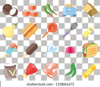 Set Of 20 transparent icons such as Mustard, Peas, Octopus, Ham, Flour, Bread, Taco, Glass, Ice cream, Hot dog, Whisk, Coconut, Oil, Pepper, transparency icon pack, pixel perfect