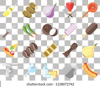 Set Of 20 transparent icons such as Hot dog, Salt, Dairy, Glass, Scale, Jawbreaker, Onion, Biscuit, Pizza, Pepper, Ice cream, Oil, transparency icon pack, pixel perfect