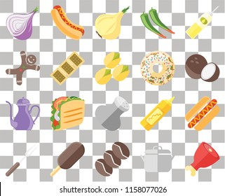 Set Of 20 transparent icons such as Ham, Pot, Coffee, Ice cream, Fork, Oil, Hot dog, Salt, Teapot, Biscuit, Doughnut, Onion, Coconut, transparency icon pack, pixel perfect