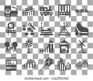 Set Of 20 transparent icons such as DUNK, Ride, Cotton candy, Roller coaster, Ice cream, Sports ball, Childhood, Slide, Playground, Whack a mole, Train, icon pack, pixel perfect