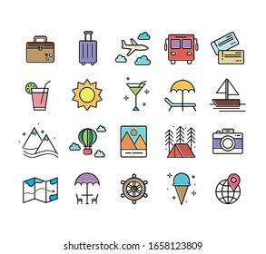 Set of 20 travel icons, thin line style, vector illustration