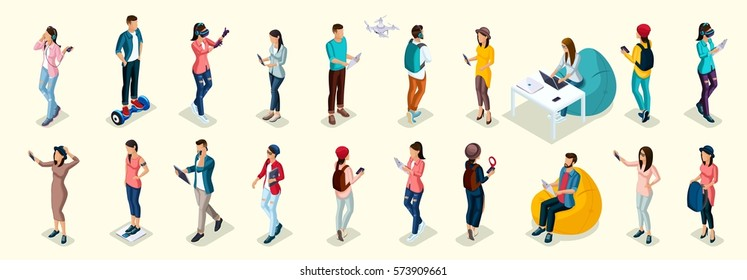 Set of 20 Trendy isometric people and gadgets, teenagers, young people, students, using hi tech technology, mobile phones, pad, laptops, make selfie, smart watches, virtual games, navigators.