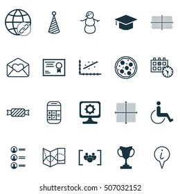 Set Of 20 Universal Editable Icons. Can Be Used For Web, Mobile And App Design. Includes Icons Such As Calculation, Birthday Hat, Greeting Email And More.