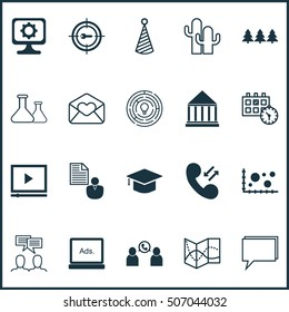 Set Of 20 Universal Editable Icons. Can Be Used For Web, Mobile And App Design. Includes Icons Such As Conference, Road Map, Holiday Ornament And More.