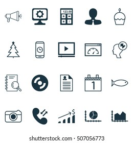 Set Of 20 Universal Editable Icons. Can Be Used For Web, Mobile And App Design. Includes Icons Such As Fishing, Cellular Data, Birthday Cake And More.