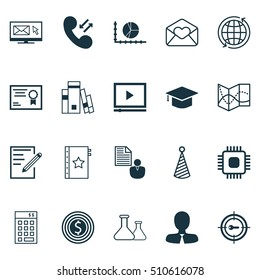 Set Of 20 Universal Editable Icons. Can Be Used For Web, Mobile And App Design. Includes Icons Such As Business Goal, Investment, Greeting Email And More.