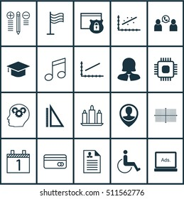 Set Of 20 Universal Editable Icons. Can Be Used For Web, Mobile And App Design. Includes Icons Such As Digital Media, Accessibility, Business Woman And More.