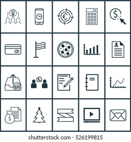 Set Of 20 Universal Editable Icons. Can Be Used For Web, Mobile And App Design. Includes Elements Such As Video Player, Achievement Graph, Plastic Card And More.