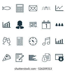 Set Of 20 Universal Editable Icons. Can Be Used For Web, Mobile And App Design. Includes Elements Such As Report, Coaching, Crotchets And More.