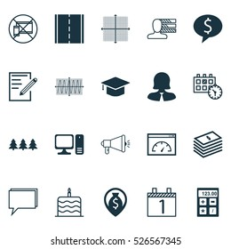 Set Of 20 Universal Editable Icons. Can Be Used For Web, Mobile And App Design. Includes Elements Such As Celebration Cake, Money Navigation, Graduation And More.