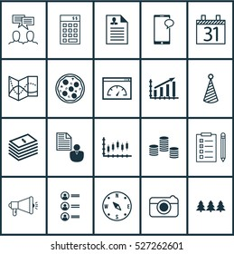 Set Of 20 Universal Editable Icons. Can Be Used For Web, Mobile And App Design. Includes Elements Such As Birthday Hat, Stock Market, Reminder And More.