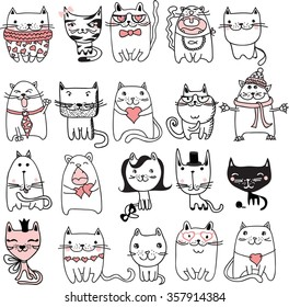 Set of 20 Vector doodle cute cats avatars