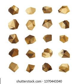 Set of 20 vector gold rock,gold nuggets Vector