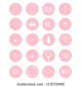 Set of 20 vector icons in nive pink girly theme for web stores, scrapbooking, bullet journals, blogging, etc.