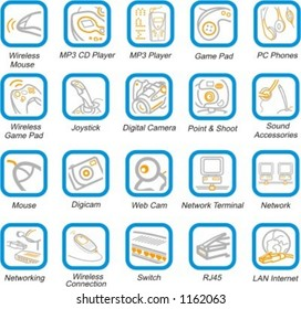 A set of 20 vector multimedia, networking, accessories and peripherals pictograms.