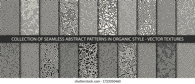 Set of 20 vector seamless monochrome organic rounded jumble maze lines patterns. Abstract backgrounds