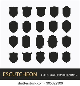 A SET OF 20 VECTOR SHIELD SHAPES