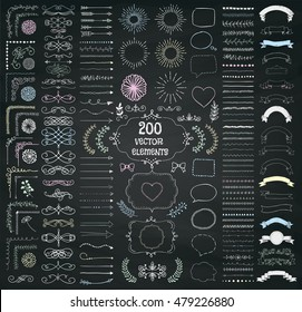 Set of 200 Hand Drawn Doodle Design Elements. Rustic Decorative Line Borders, Dividers, Arrows, Swirls, Scrolls, Ribbons, Banners, Frames Corners Objects on Chalkboard Texture. Vector Illustration