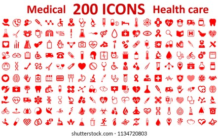Set 200 Medecine and Health flat icons. Collection health care medical sign icons – stock vector