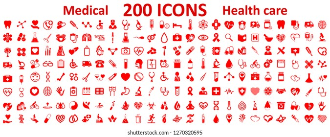 Set 200 Medecine and Health flat icons. Collection health care medical sign icons – vector for stock