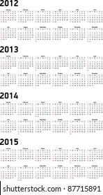 Set of 2012, 2013, 2014 and 2015 Calendar