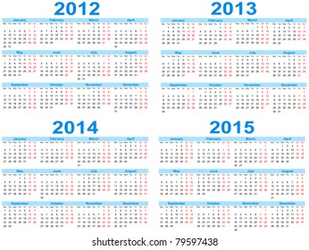 Set of 2012 - 2015 calendar, vector