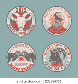 Set of 2015 Chinese New Years symbol goat colored vector logos design. Logotype templates and badges with goats, mountains, sun and stars. Product promotion for christmas and new year advertising