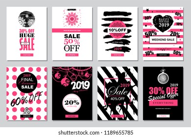Set of 2019 Happy New Year Sale Banners Templates for on-line shopping with black, white, pink colors.  Trendy flat style with hand-lettering words. Vector illustration