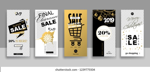Set of 2019 Merry Christmas and Happy New Year Sale Stories template  with swipe up buttons. Streaming. Creative universal cards  in trendy style with Hand Drawn textures.