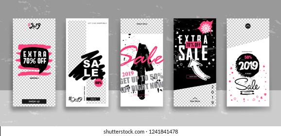 Set of 2019 Merry Christmas and Happy New Year Sale Stories template with swipe up buttons. Streaming. Creative universal cards  in trendy style with Hand Drawn textures. Vector