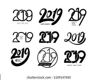 Set of 2019 text design pattern. Collection of Happy New Year and happy holidays. Vector illustration. Isolated on white background