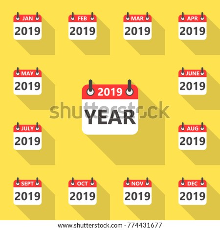 set of 2019 year calendar icons flat style with long shadow