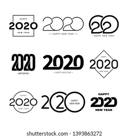 Set of 2020 happy new year signs. Collection of 2020 happy new year symbols. Vector illustration with black holiday labels isolated on white background.