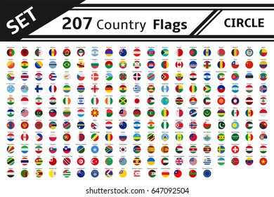 set 207 country flag circle