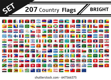 set 207 country flags with glitter effect