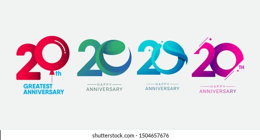 set 20th anniversary logo vector template. Design for banner, greeting cards or print.