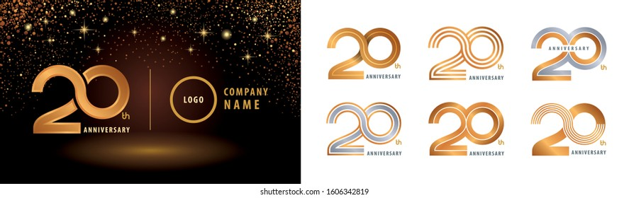 Set of 20th Anniversary logotype design, Twenty years Celebrating Anniversary Logo silver and golden for celebration event, invitation, greeting, Infinity logo vector illustration, web template, flyer