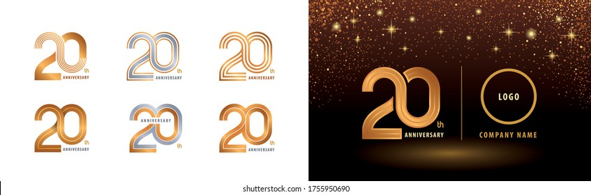 Set of 20th Anniversary logotype design, Twenty years anniversary celebration. Infinity Logo silver and golden for celebration event, invitation, greeting, web template, flyer and booklet